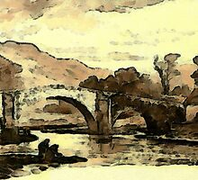 A digital painting of Llanrwst Bridge, Denbigh, Wales 1882 by Dennis Melling