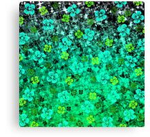 LUCK OF THE IRISH Pretty Bold Kelly Green Emerald Jase Floral Flowers Lucky Clover Pattern Abstract Fine Art Painting Canvas Print