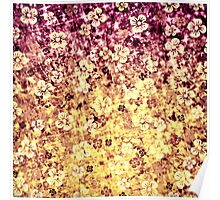FLOWER POWER Pretty Feminine Abstract Ombre Acrylic Painting Floral Flowers Plum Purple Cream Yellow Pattern Poster