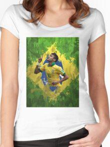 Neymar Brazil football soccer Full canvas  Women's Fitted Scoop T-Shirt