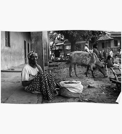 Ethiopian woman at Omo Valley Market Poster