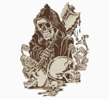 "Grim Reaper ""Skull and Hatchet"" Floral Ornate by artkrannie"