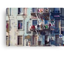 north beach hanging laundry Canvas Print