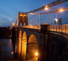 Menai Bridge Dusk by dilyst