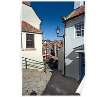 Quaint houses in Robins Hoods Bay Poster