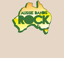 Aussie bands ROCK! with map of Australia Womens Fitted T-Shirt