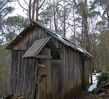 wooden trappers hut by photoeverywhere