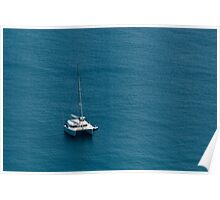 Luxury catamaran moored offshore Poster
