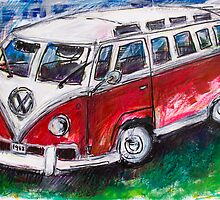 Volkswagen Red Bus by Sofie Hoff