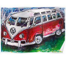 Volkswagen Red Bus Poster