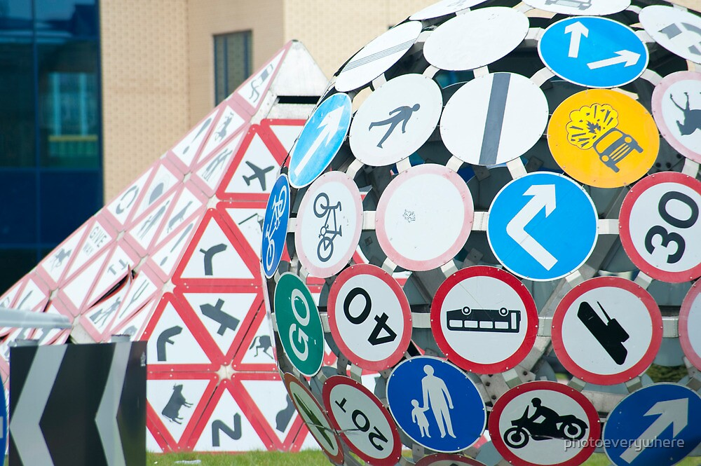 Detail of a roadsign sculpture in Splott, Cardiff by photoeverywhere