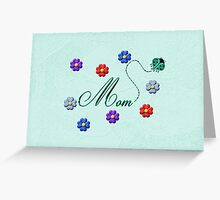 Aqua Heart Ladybug Mom Flowers Card Greeting Card