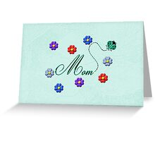 Aqua Heart Ladybug Mom Flowers Card Greeting Card