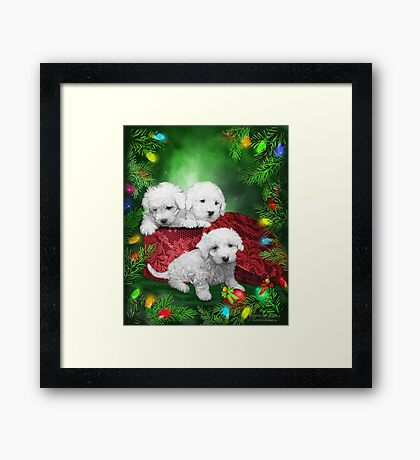 Puppies For Christmas Framed Print