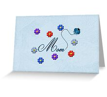 Blue Heart Ladybug Mom Flowers Card Greeting Card