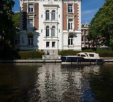 Amsterdam Canal Mansions - Bright White Symmetry  by Georgia Mizuleva