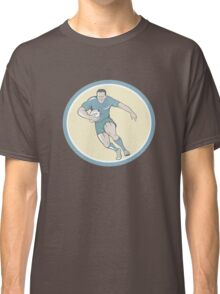 Rugby Player Running Ball Circle Cartoon Classic T-Shirt