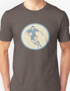 Rugby Player Running Ball Circle Cartoon Unisex T-Shirt
