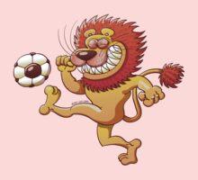 Brave Lion Kicking a Soccer Ball One Piece - Short Sleeve