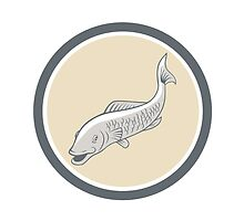 Trout Swimming Cartoon Circle by patrimonio
