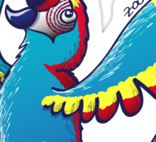 Cool Macaw Playing with a Soccer Ball on its Head Sticker