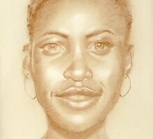 Lupita Nyong - pastel sketch drawing by Paulette Farrell