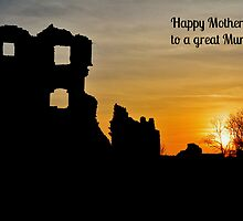 Coity Castle Silhouette - Mother's Day Card for a Great Mum by Paula J James