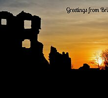 Coity Castle Silhouette - Postcard or Greetings Card by Paula J James