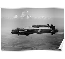 Lancasters AJ-G and AJ-N carrying Upkeeps black and white version Poster