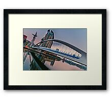 Evening at the Salford Quays lift bridge Framed Print