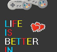 Life is better in 2 player poster by spiceblast