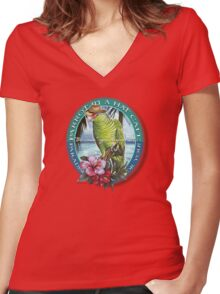 parrot in a hat 7 Women's Fitted V-Neck T-Shirt