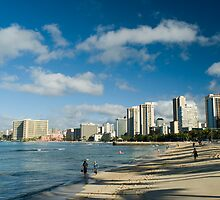 Waikiki beach in the sun by photoeverywhere