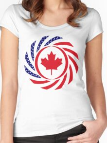 Canadian American Multinational Patriot Flag Series 1.0 Women's Fitted Scoop T-Shirt