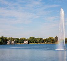 Fountain at the NYC's Jackie Onassis Reservoir by W. Lotus