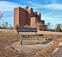 Forgotten Building and Bench by Gilda Axelrod