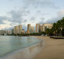Waikiki beach dawn by photoeverywhere