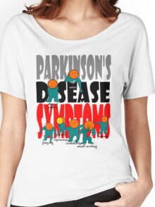Parkinson's disease symptoms, tremors, freezing of gait, masked expressions, slow movements, bradykinesia, soft voice, micro graphia, small hand writing Women's Relaxed Fit T-Shirt