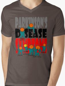 Parkinson's disease symptoms, tremors, freezing of gait, masked expressions, slow movements, bradykinesia, soft voice, micro graphia, small hand writing Mens V-Neck T-Shirt