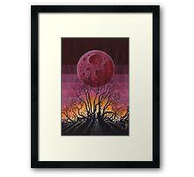 Landscape Red Moon Framed Print