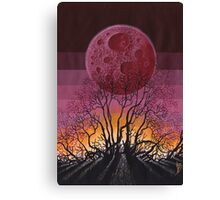 Landscape Red Moon Canvas Print