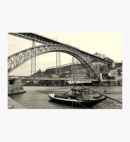 Barco Rebelo junto à ponte D'Luis Photographic Print