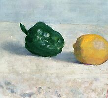 Pepper and Lemon on a White Tablecloth by Bridgeman Art Library