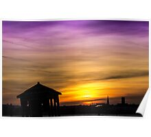 Silhouettes at sunset Poster