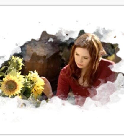 amy pond and sunflowers Sticker