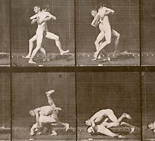 Two Men Wrestling by Bridgeman Art Library