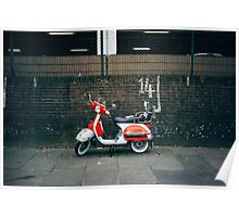 Red and white scooter Poster
