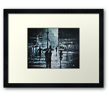 CROSSING THE SNOWY STREET Framed Print