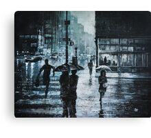 CROSSING THE SNOWY STREET Canvas Print