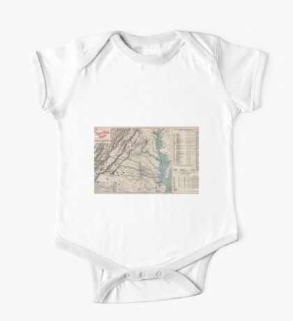 Civil War Maps 1076 Map showing the location of battle fields of Virginia One Piece - Short Sleeve